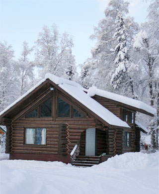 Mangy Moose Cabin in Winter
